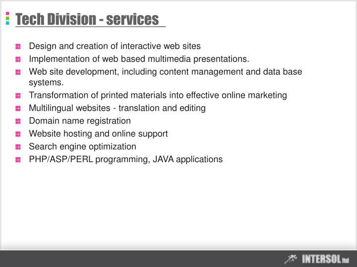 Tech Division - services