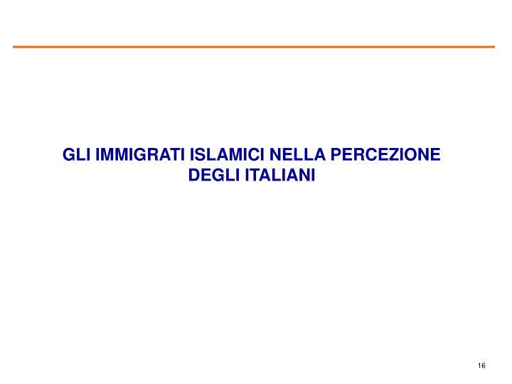 GLI IMMIGRATI ISLAMICI NELLA PERCEZIONE DEGLI ITALIANI