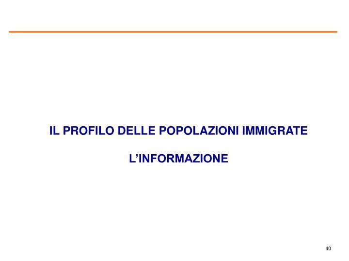 IL PROFILO DELLE POPOLAZIONI IMMIGRATE