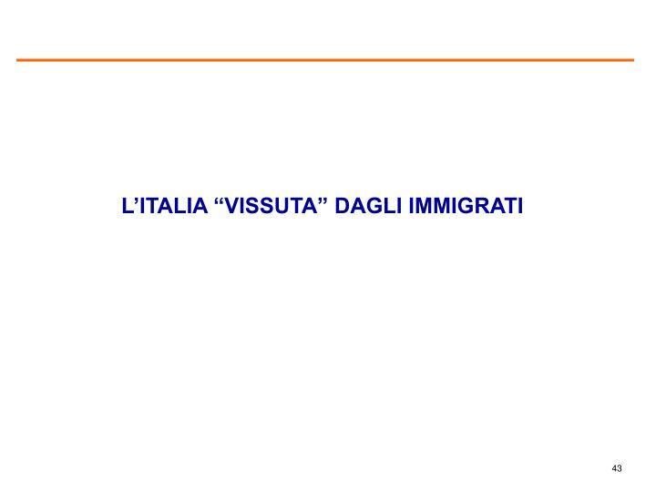 """L'ITALIA """"VISSUTA"""" DAGLI IMMIGRATI"""