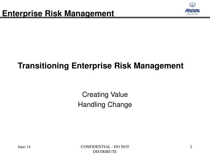 Transitioning enterprise risk management