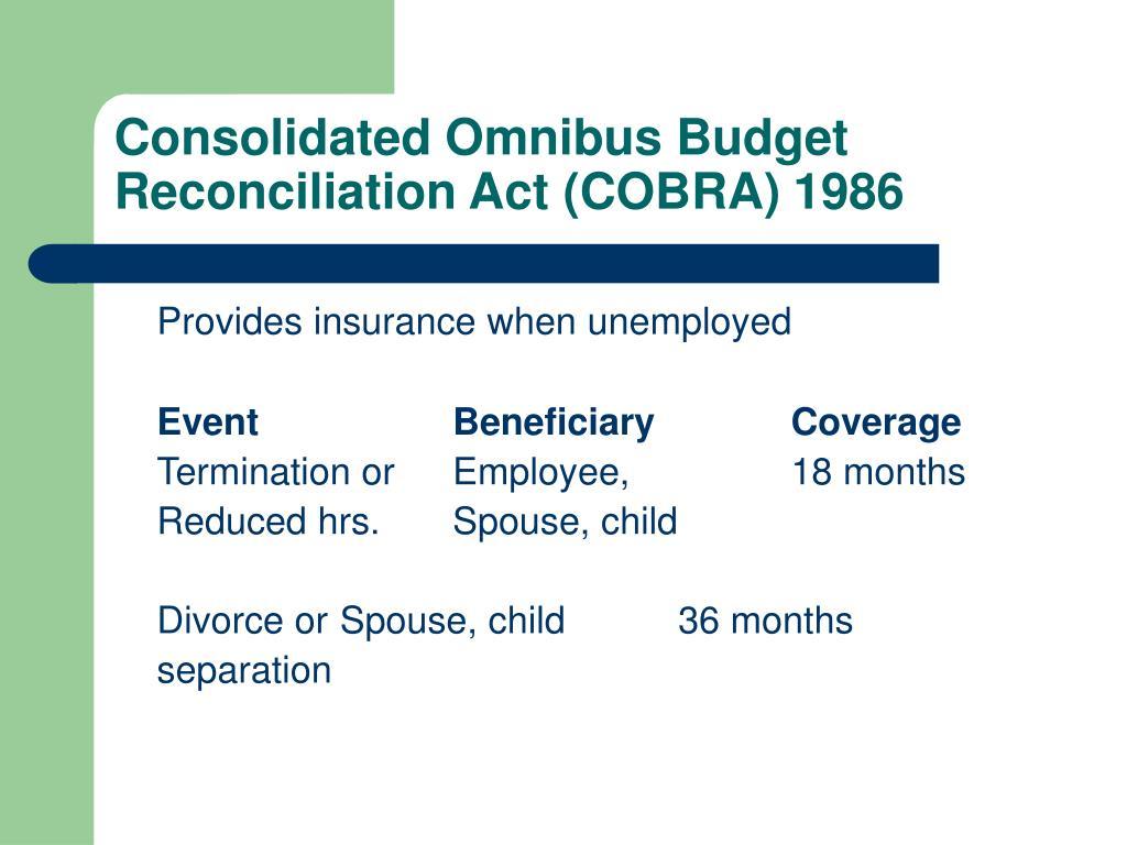 Consolidated Omnibus Budget Reconciliation Act (COBRA) 1986