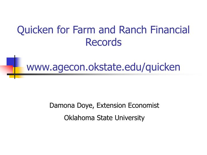 Quicken for Farm and Ranch Financial Records