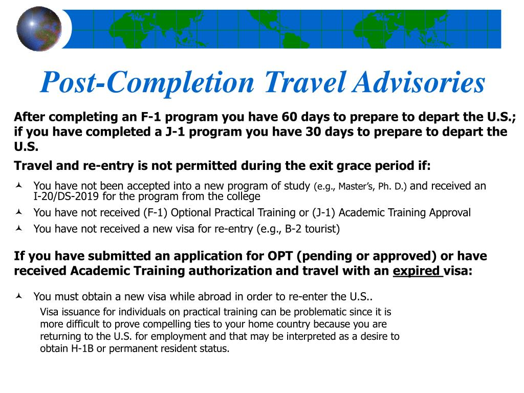 Post-Completion Travel Advisories