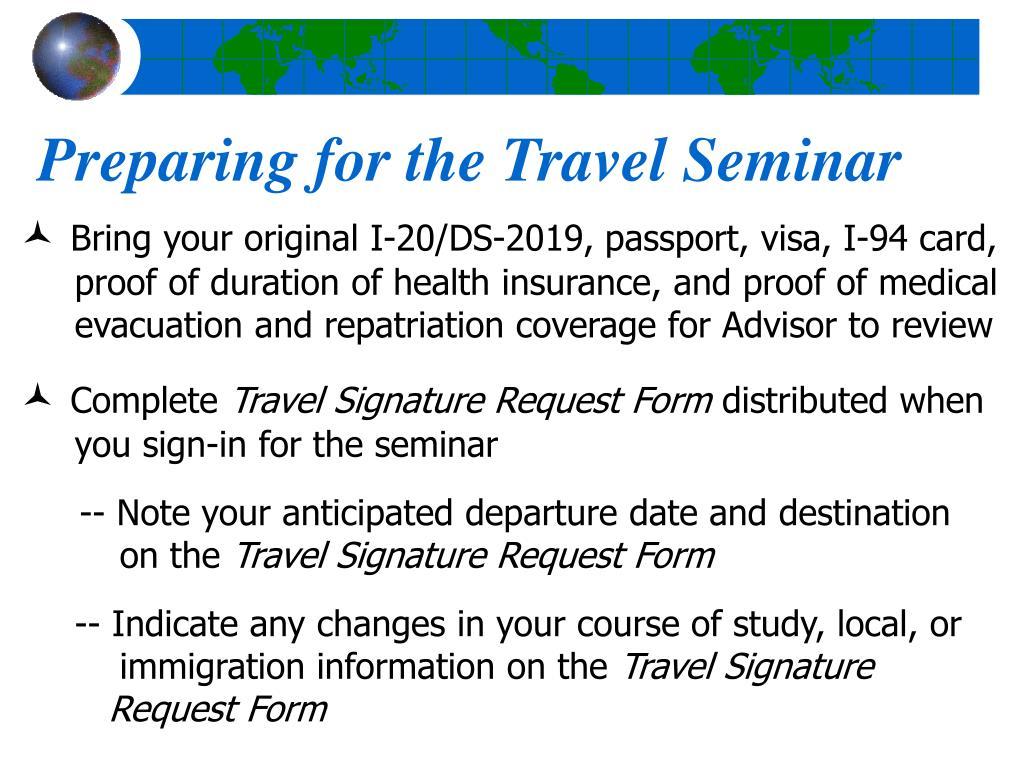 Preparing for the Travel Seminar
