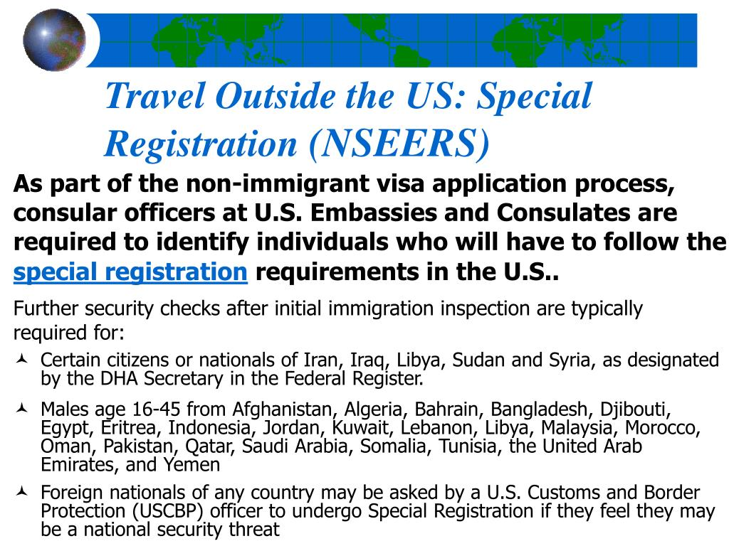 Travel Outside the US: Special Registration