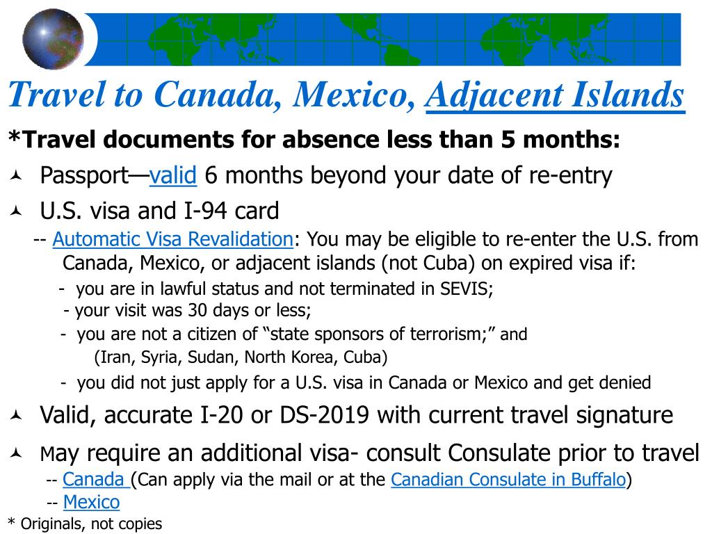 Travel to Canada, Mexico,
