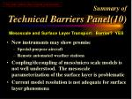 summary of technical barriers panel 10
