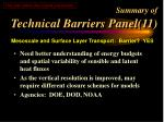 summary of technical barriers panel 11