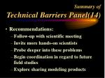 summary of technical barriers panel 14