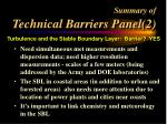 summary of technical barriers panel 2