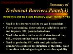 summary of technical barriers panel 3