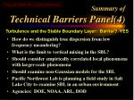 summary of technical barriers panel 4