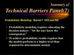 summary of technical barriers panel 7