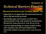 summary of technical barriers panel 9
