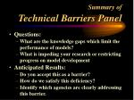 summary of technical barriers panel