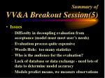 summary of vv a breakout session 5