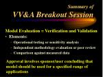 summary of vv a breakout session