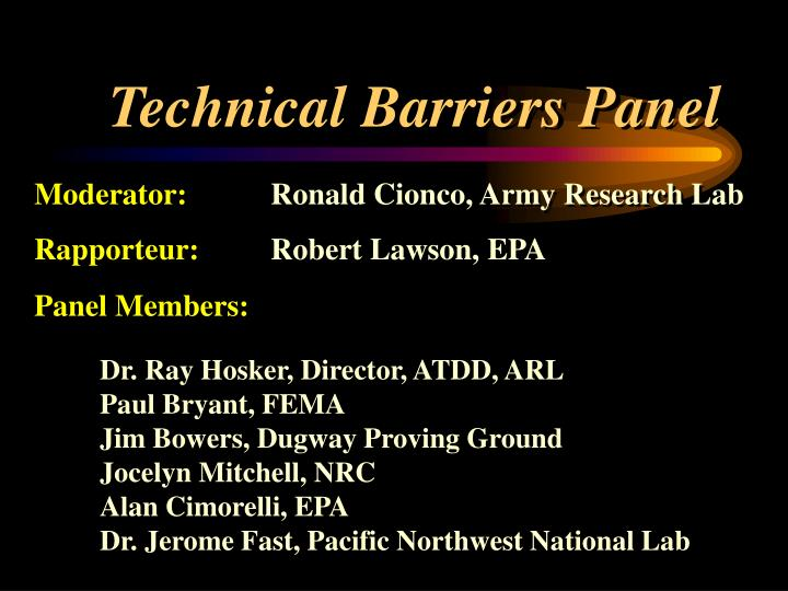 Technical barriers panel