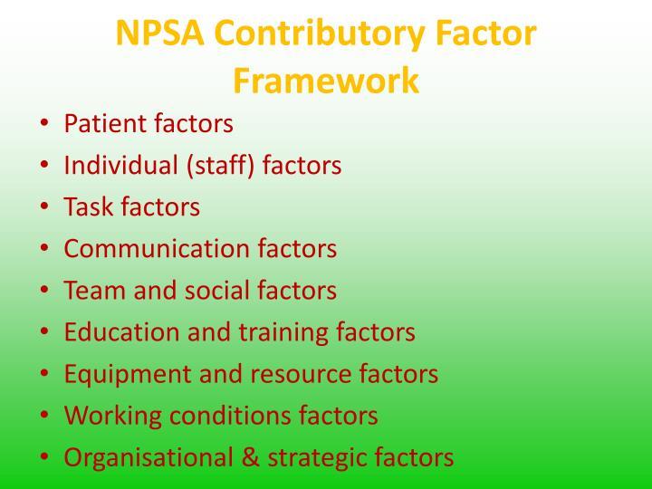 NPSA Contributory Factor Framework