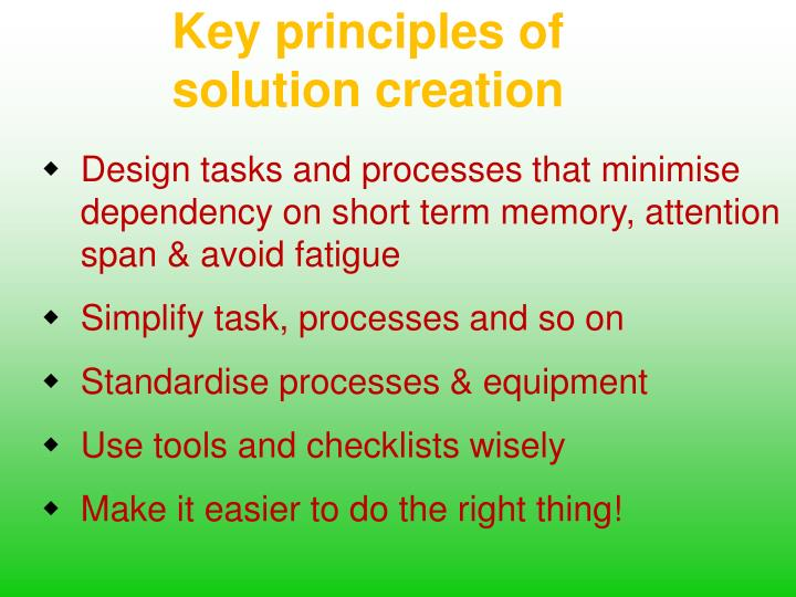 Key principles of solution creation