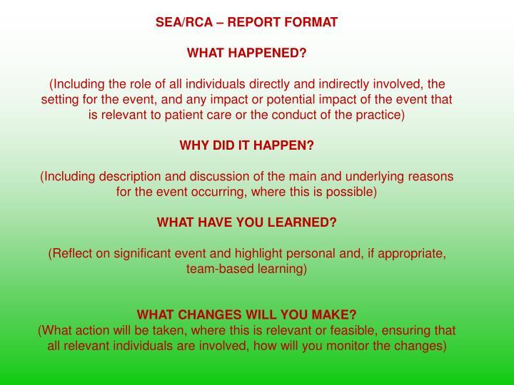SEA/RCA – REPORT FORMAT