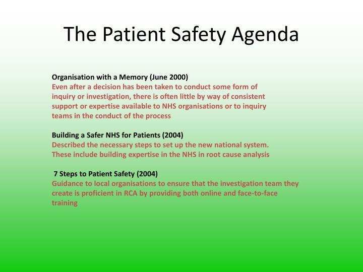 The Patient Safety Agenda