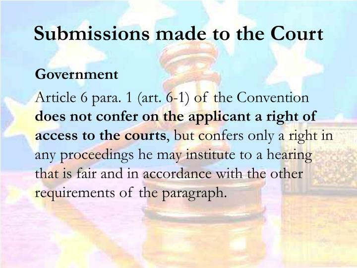 Submissions made to the Court