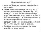how does quicksort work