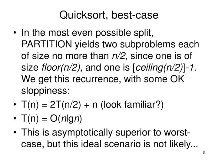 Quicksort, best-case