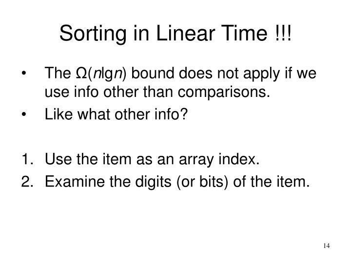 Sorting in Linear Time !!!