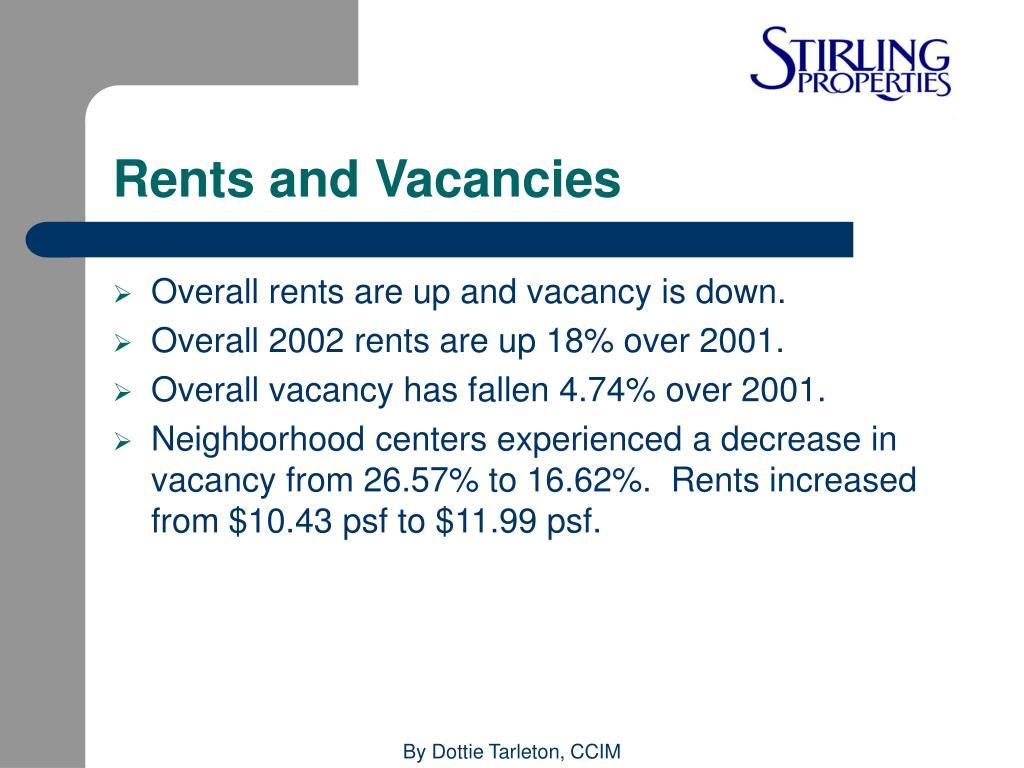 Rents and Vacancies