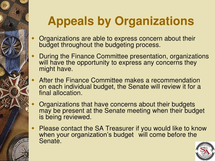 Appeals by Organizations