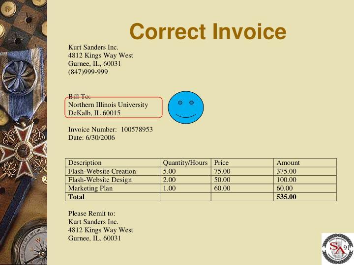 Correct Invoice