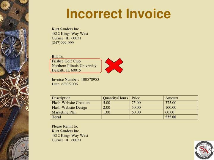 Incorrect Invoice