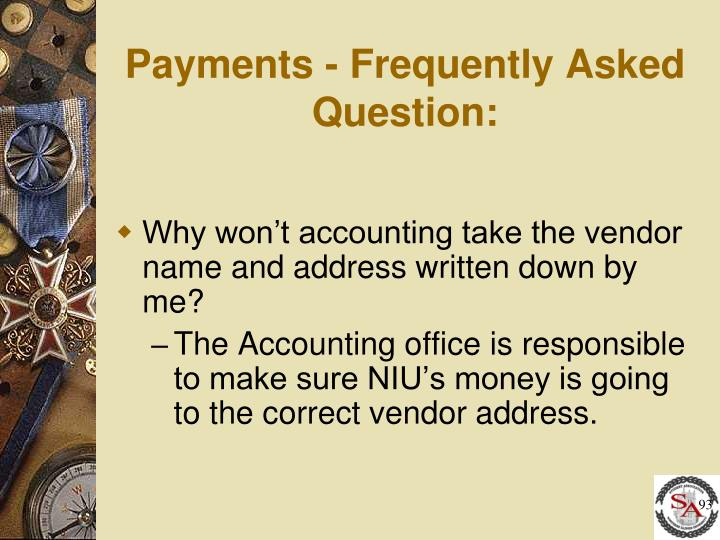 Payments - Frequently Asked Question: