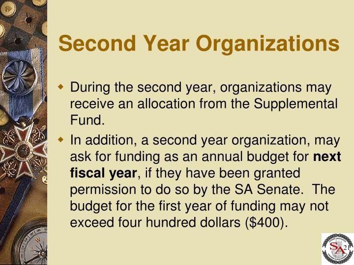 Second Year Organizations