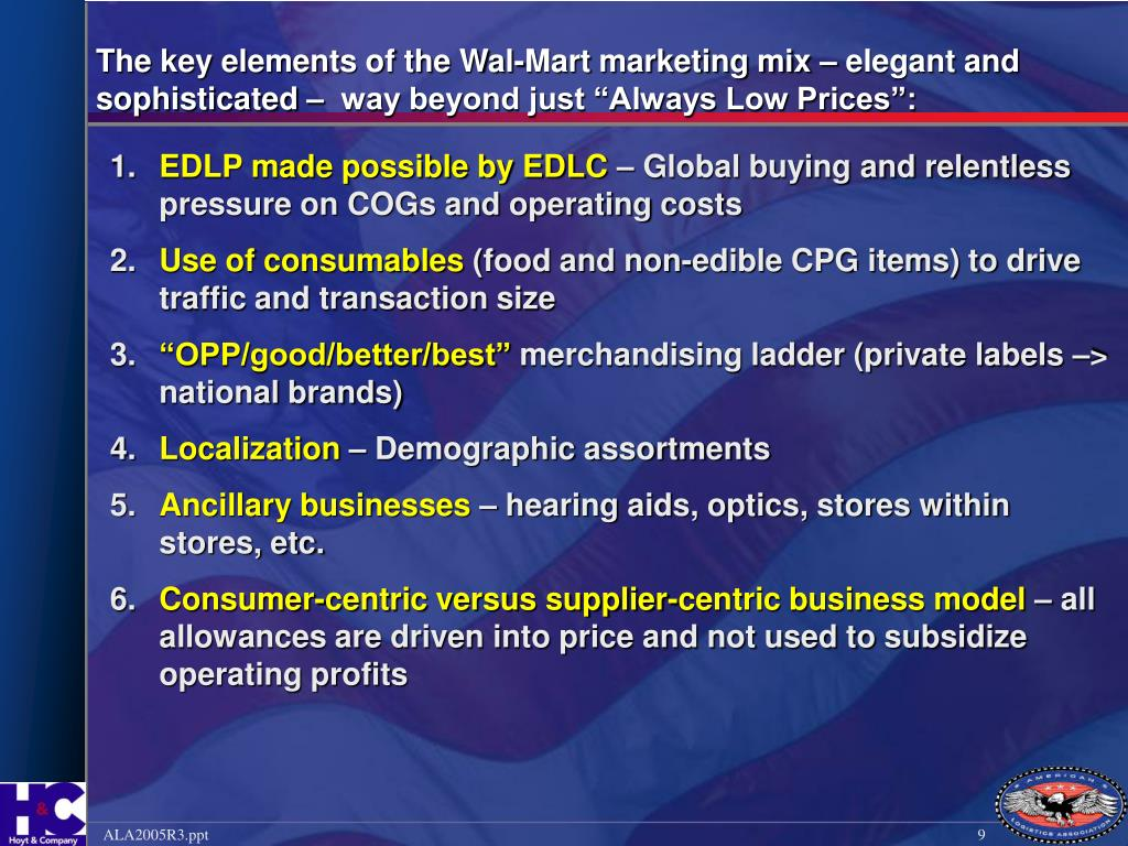 "The key elements of the Wal-Mart marketing mix – elegant and sophisticated –  way beyond just ""Always Low Prices"":"