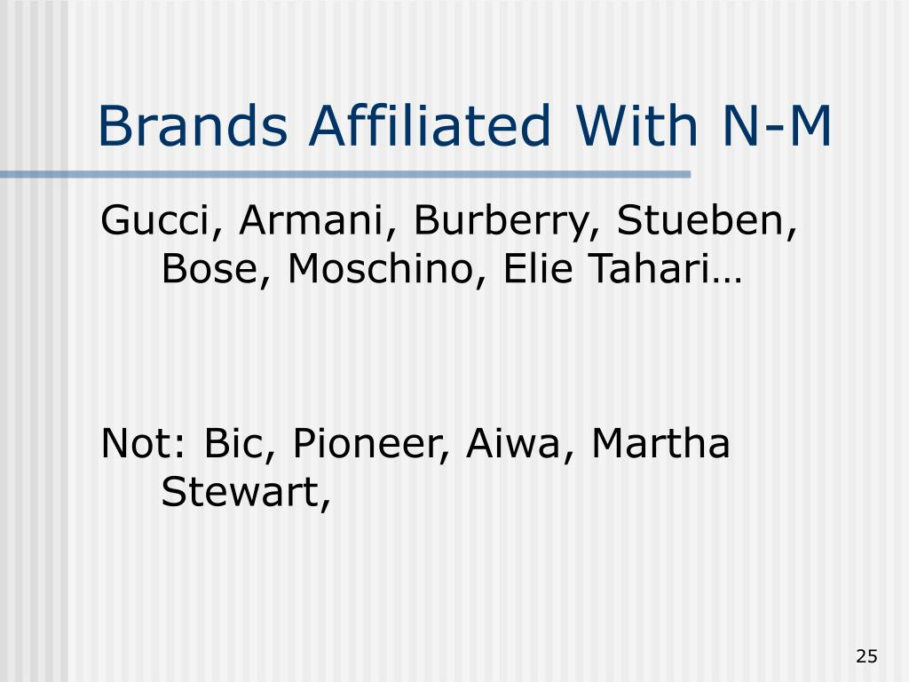 Brands Affiliated With N-M