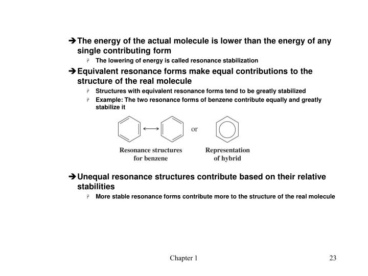 The energy of the actual molecule is lower than the energy of any single contributing form