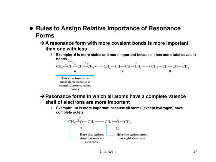 Rules to Assign Relative Importance of Resonance Forms