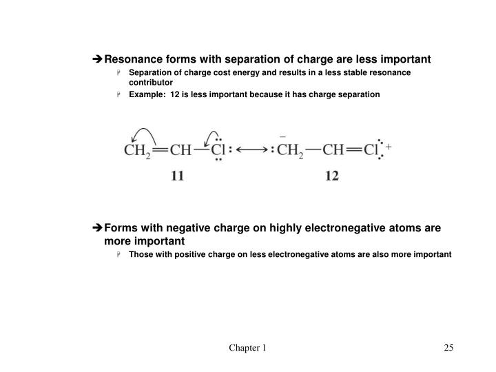 Resonance forms with separation of charge are less important