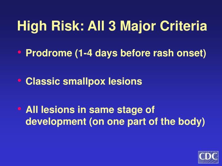 High Risk: All 3 Major Criteria