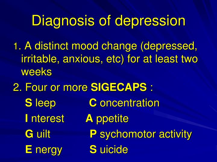 Diagnosis of depression