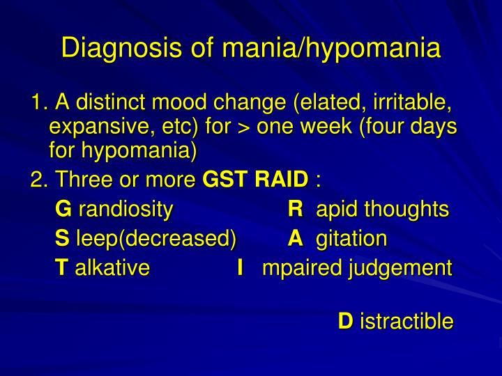 Diagnosis of mania/hypomania