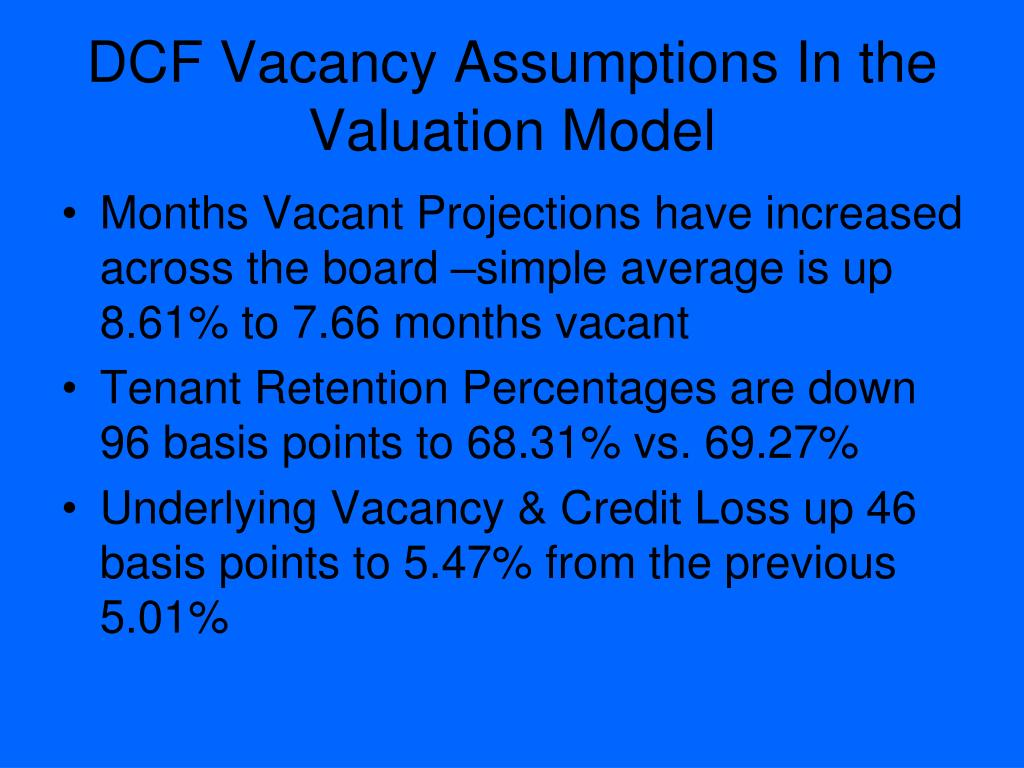 DCF Vacancy Assumptions In the Valuation Model