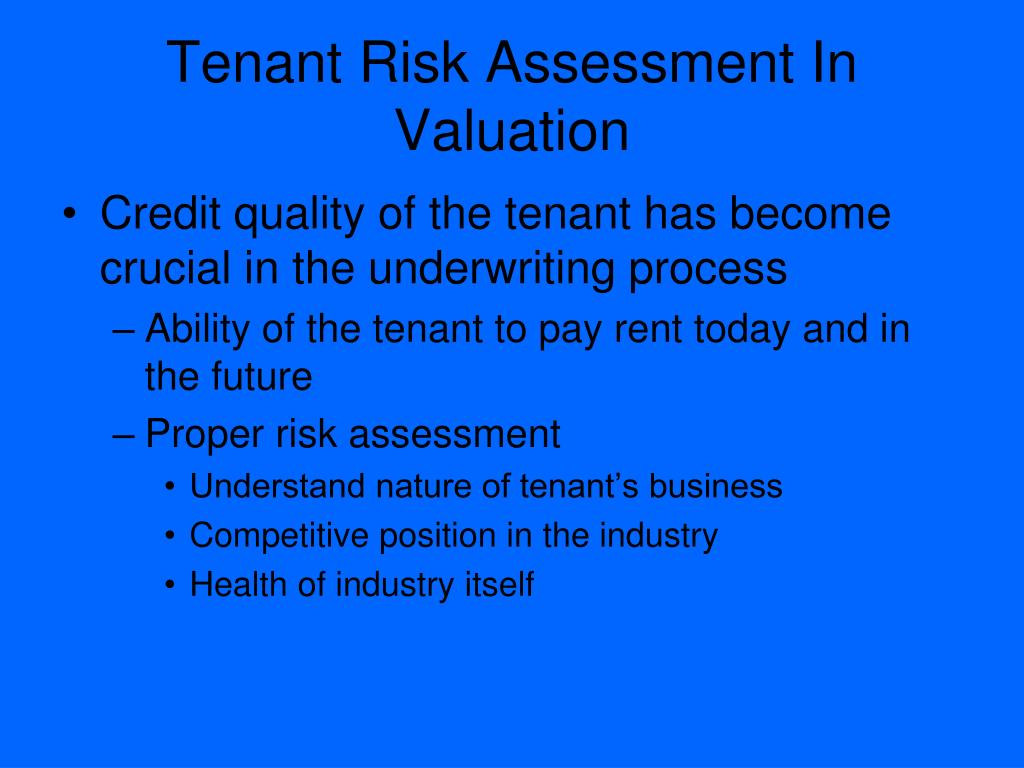Tenant Risk Assessment In Valuation