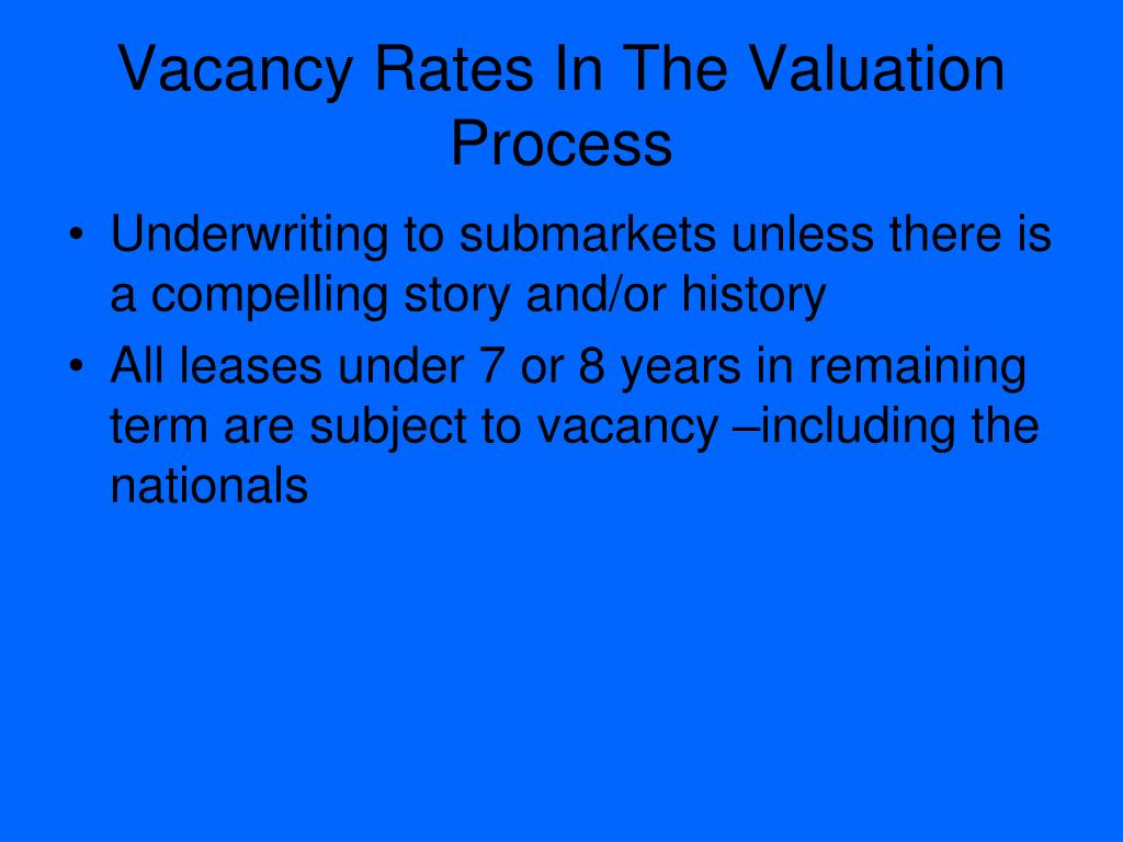 Vacancy Rates In The Valuation Process