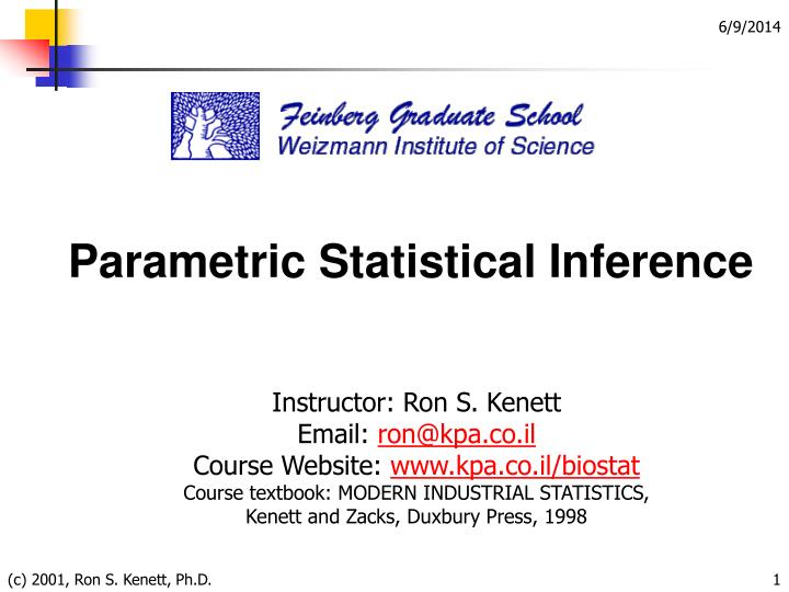 Parametric Statistical Inference