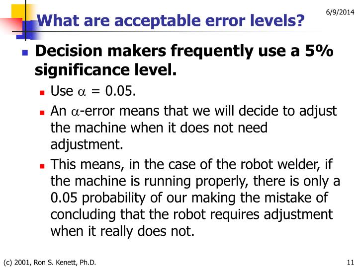 What are acceptable error levels?